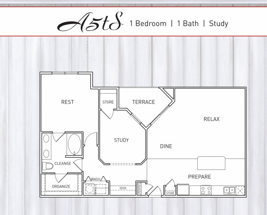 1,026 sq. ft. to 1,073 sq. ft. B1T floor plan