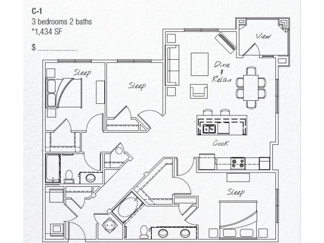 1,434 sq. ft. C1 floor plan