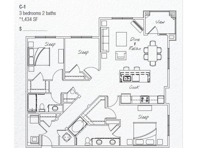 1,434 sq. ft. C1 floor plan