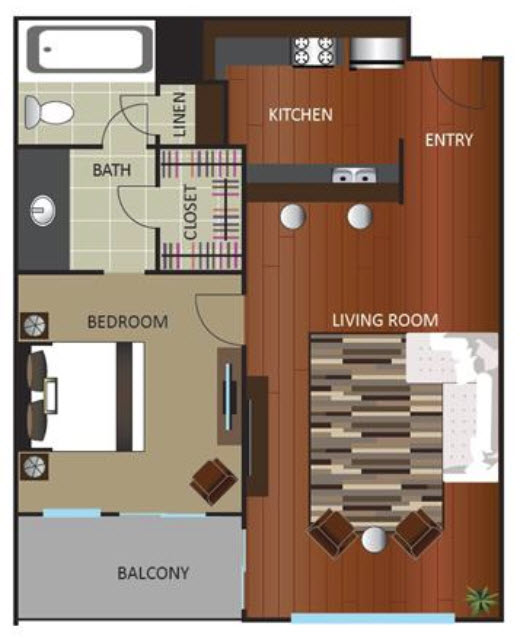 620 sq. ft. A2 floor plan