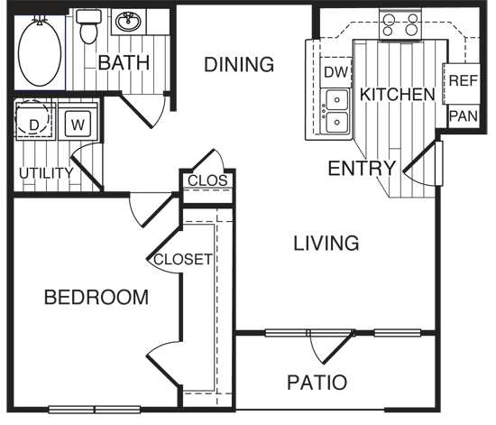 728 sq. ft. A2/Evergreen floor plan