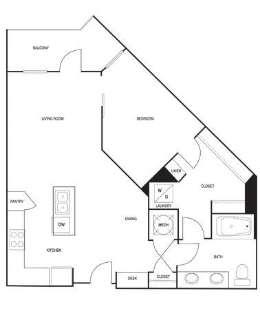 764 sq. ft. floor plan