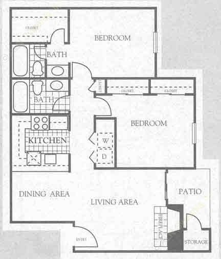 940 sq. ft. 2B1 floor plan