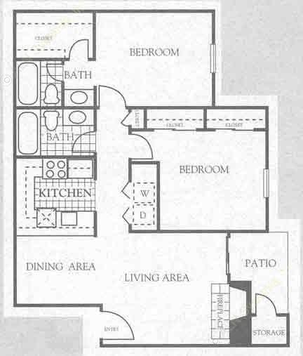 940 sq. ft. 2B1 floor plan