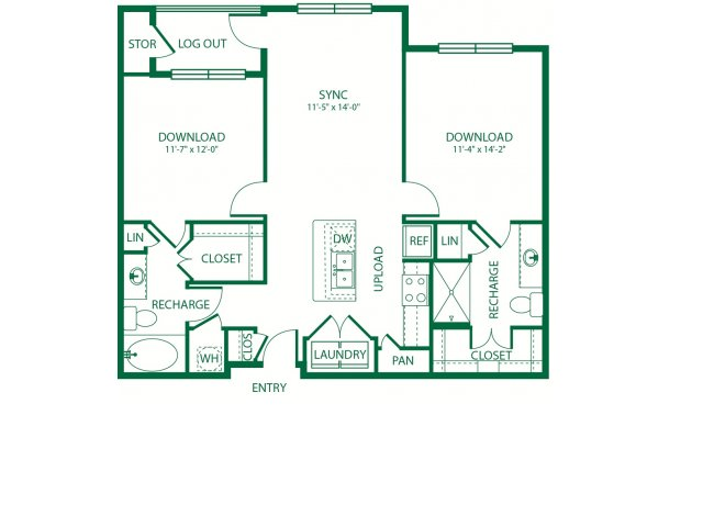 977 sq. ft. B1ALT Spectrum floor plan