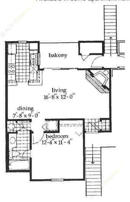 650 sq. ft. Aberdeen floor plan