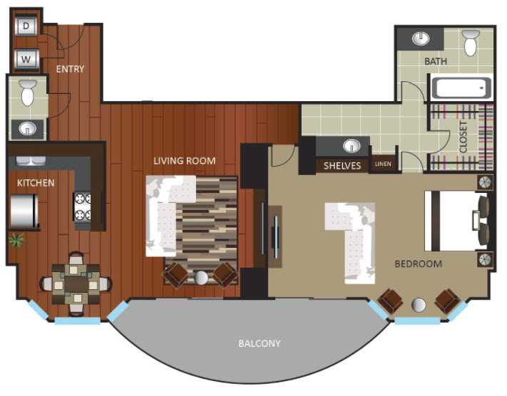 1,043 sq. ft. PNTHOUSE floor plan