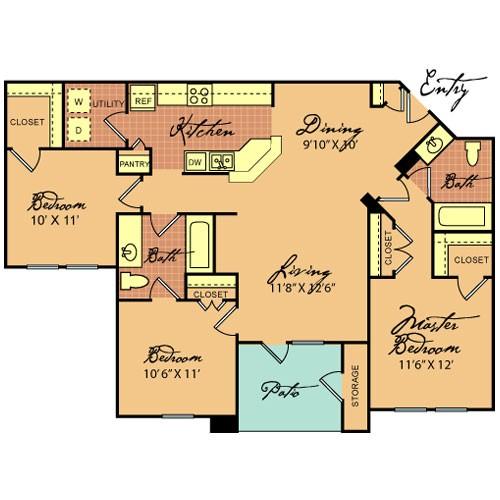 1,162 sq. ft. C1 60% floor plan