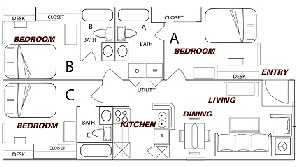 987 sq. ft. C2 floor plan