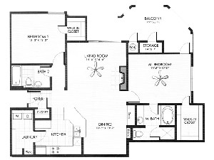 1,278 sq. ft. Sandstone floor plan