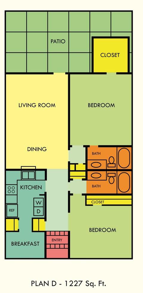 1,227 sq. ft. floor plan