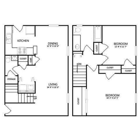 1,193 sq. ft. B4 floor plan