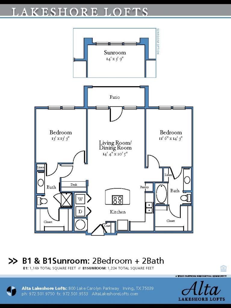 1,169 sq. ft. B1 floor plan