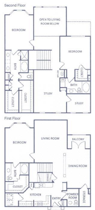 2,582 sq. ft. T1 floor plan