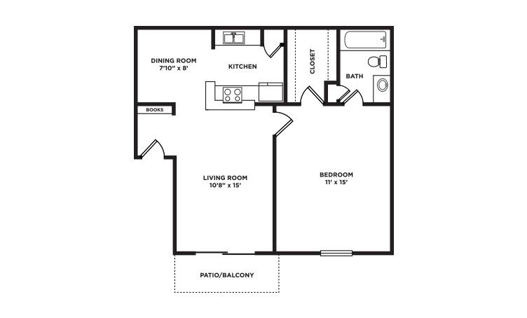 612 sq. ft. floor plan