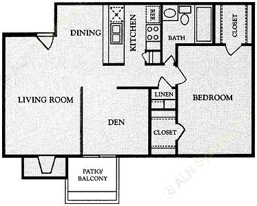 812 sq. ft. floor plan