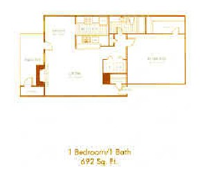 692 sq. ft. A5 floor plan