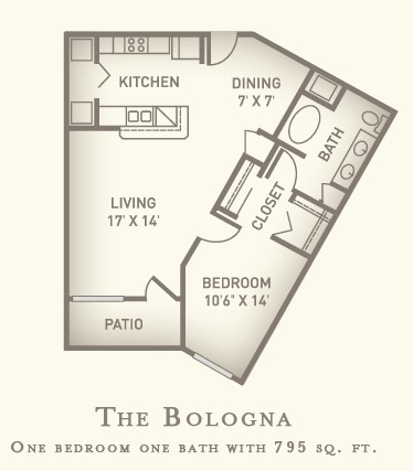 795 sq. ft. Bologna floor plan