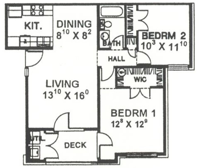 869 sq. ft. 60% floor plan