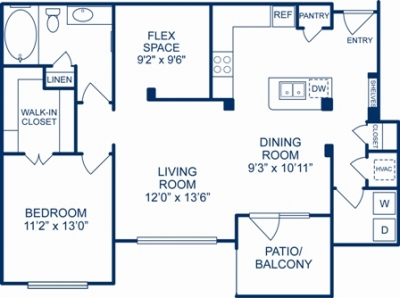 975 sq. ft. MIAMI floor plan