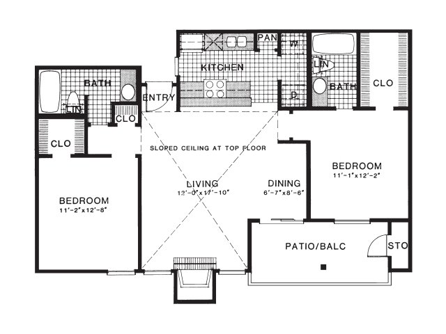 979 sq. ft. B3/UP floor plan