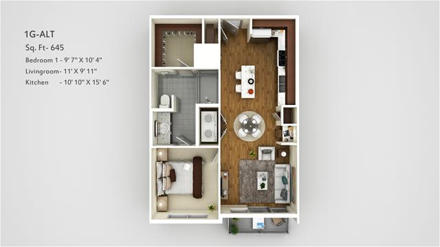 645 sq. ft. 1G Alt floor plan