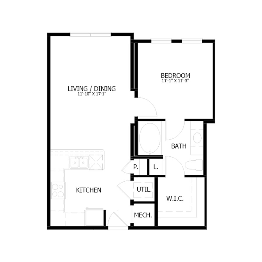 686 sq. ft. A10 floor plan