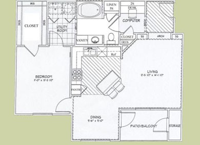 830 sq. ft. Antiqua floor plan