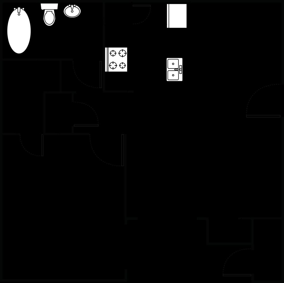 603 sq. ft. Villa floor plan