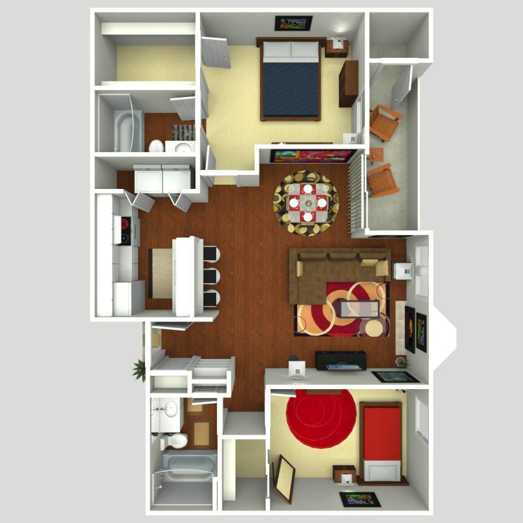 911 sq. ft. B3 floor plan