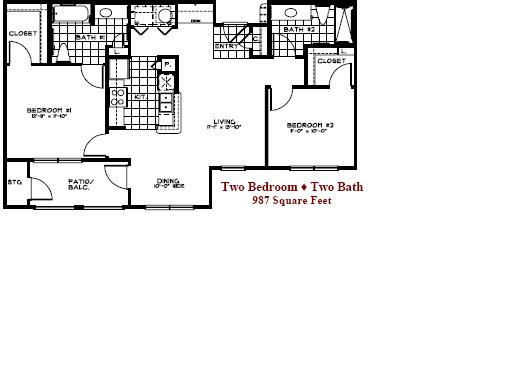 987 sq. ft. 50% floor plan