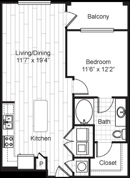 723 sq. ft. 11F3 floor plan