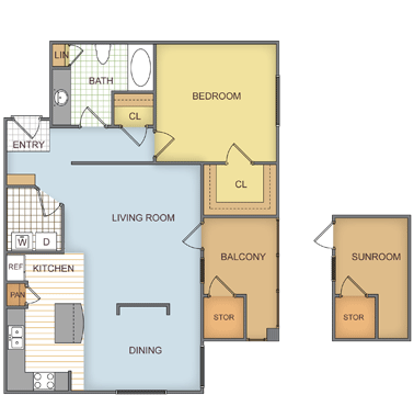 777 sq. ft. Pinefield floor plan