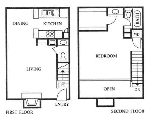 800 sq. ft. E floor plan