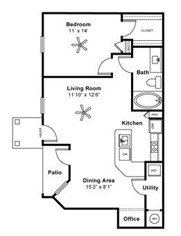 825 sq. ft. LIVINGSTON II floor plan