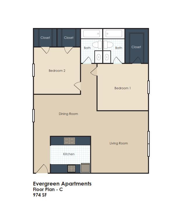 974 sq. ft. floor plan