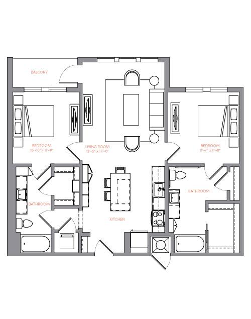 1,090 sq. ft. B1B.2 floor plan