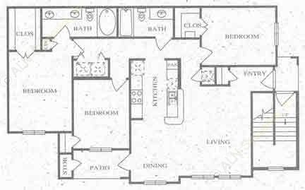 1,280 sq. ft. E floor plan