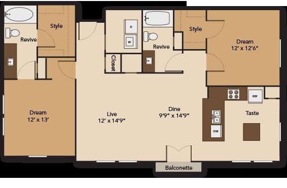 1,213 sq. ft. PLAZA B2 floor plan