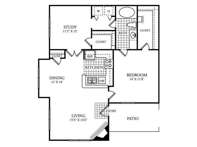 993 sq. ft. C floor plan