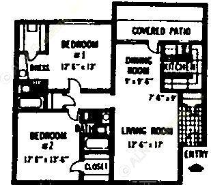 901 sq. ft. B floor plan