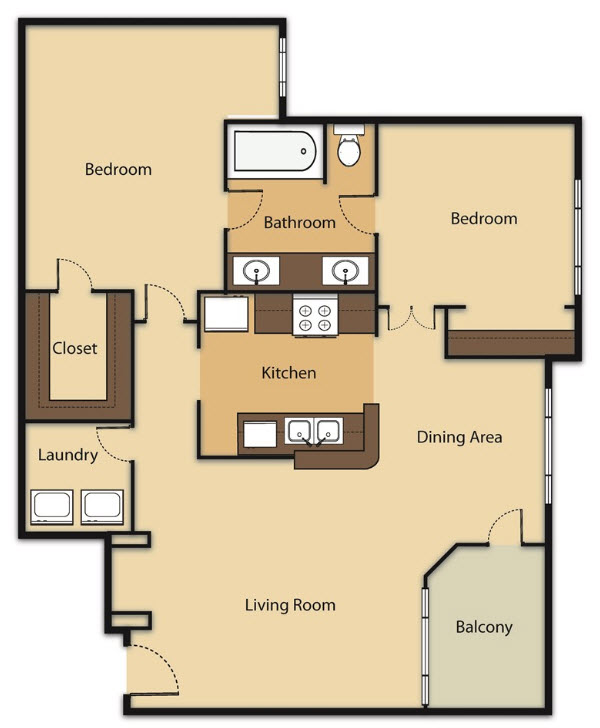 945 sq. ft. B1 floor plan