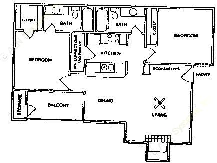 879 sq. ft. B2-60% floor plan
