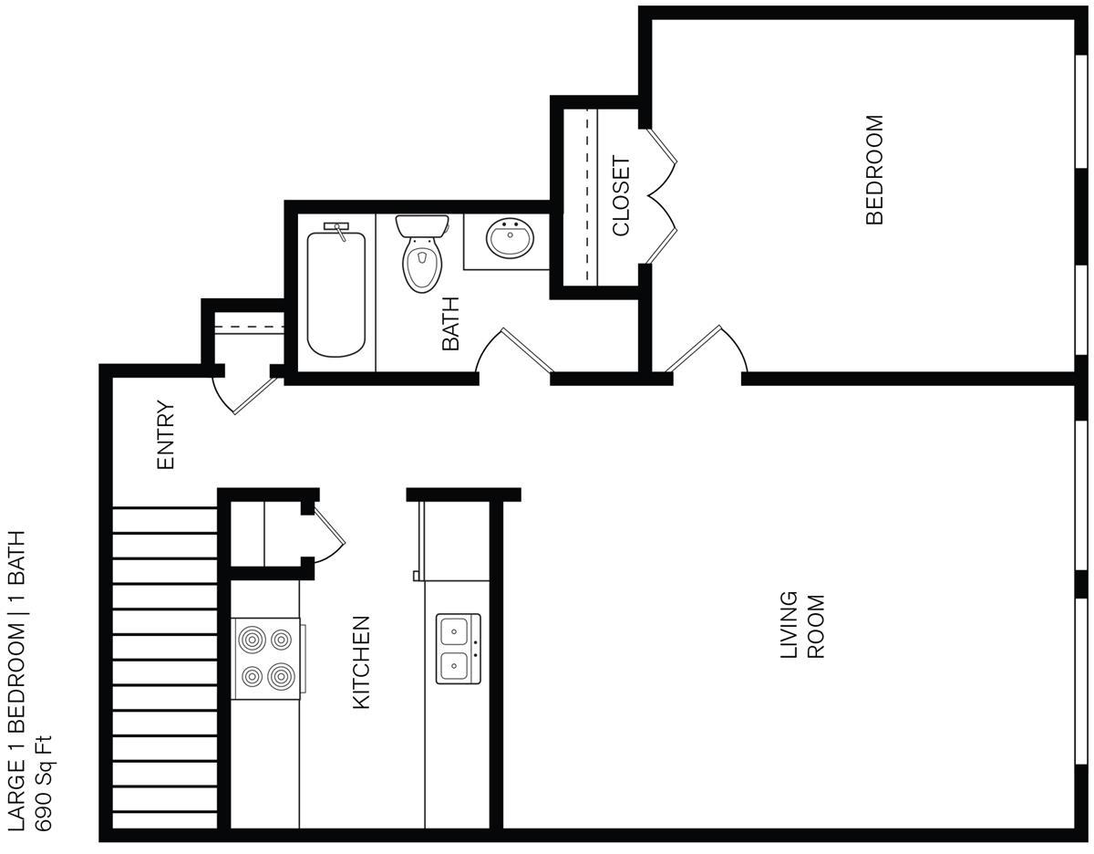 690 sq. ft. C2 floor plan