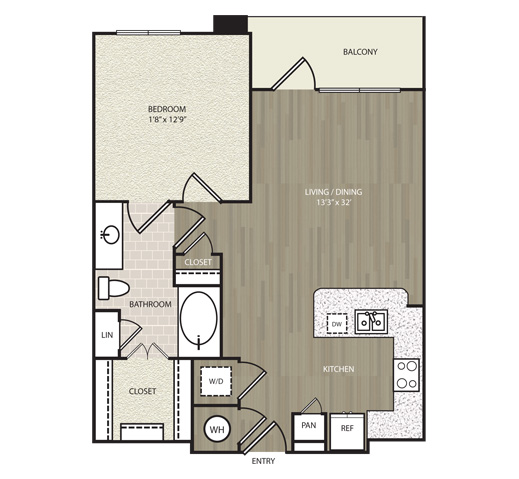 708 sq. ft. A6 floor plan