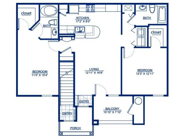 1,083 sq. ft. B2G floor plan