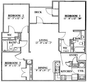 1,221 sq. ft. C1 floor plan