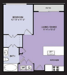 603 sq. ft. to 645 sq. ft. A1 floor plan