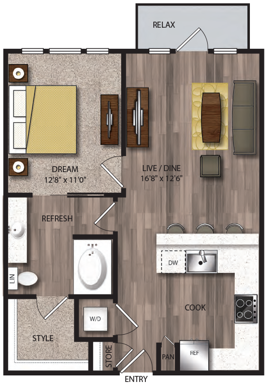 723 sq. ft. A6.1 floor plan
