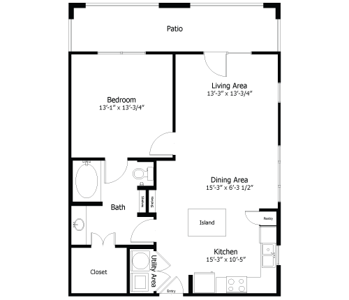 780 sq. ft. to 975 sq. ft. 4A3 floor plan